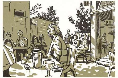 Terras van café Ranonkel. (Postkaart van Jan Van der Veken)
