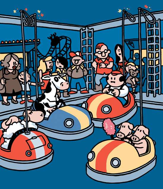 Tekening die Pieter de Poortere maakte voor de affiche van Turnhout Kermis 2008. (Copyright Strip Turnhout/Pieter de Poortere, 2008)