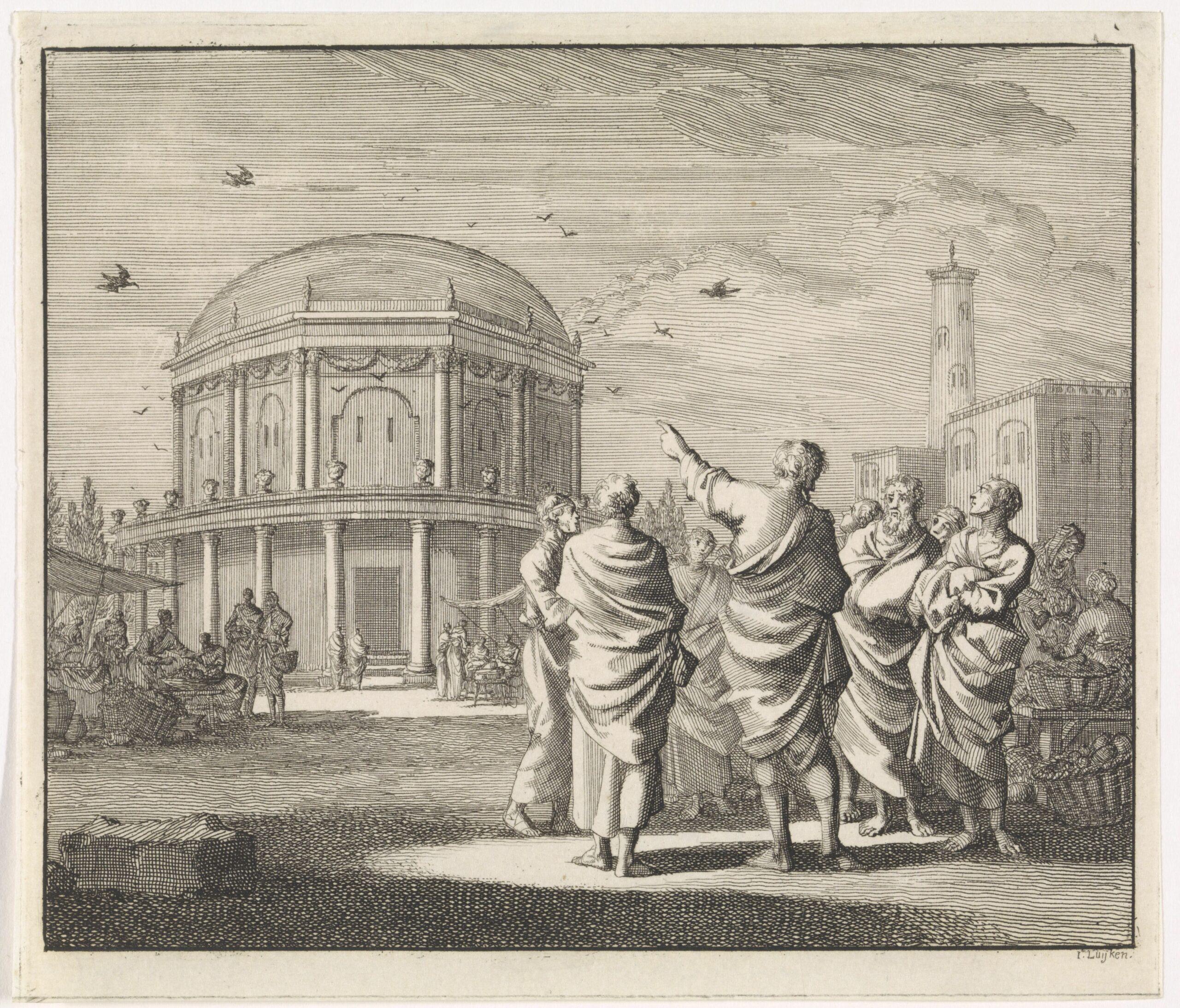 Heilige Athanasius voorspelt de toekomst met behulp van kraaien, Jan Luyken, 1701 (c) Rijksstudio